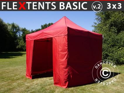 Faltzelt FleXtents Basic v.2, 3x3m Rot, mit 4 wänden