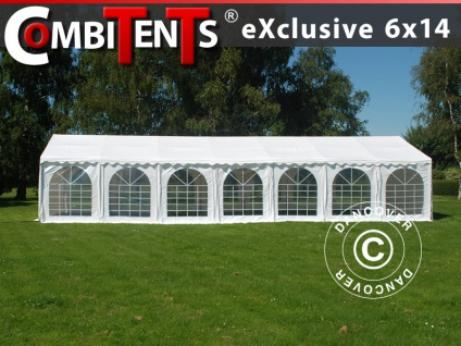Partyzelt Festzelt, Exclusive CombiTents® 6x14m 5-in-1, Weiß