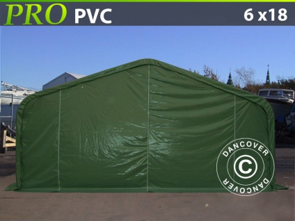 Lagerzelt Zeltgarage Garagenzelt PRO 6x18x3, 7m PVC, Grün