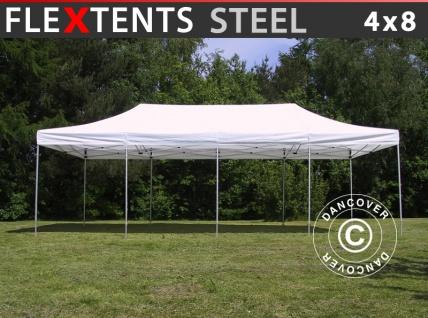 Faltzelt Faltpavillon Wasserdicht FleXtents Steel 4x8m Weiß