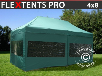 Faltzelt FleXtents PRO 4x8m Grün, mit 6 wänden