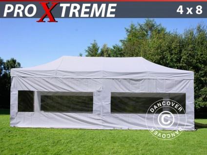 Faltzelt Faltpavillon Wasserdicht FleXtents Xtreme 4x8m Weiß, mit 6 wänden