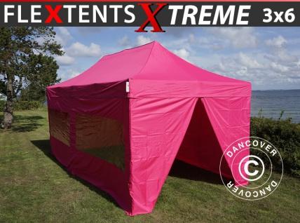 Faltzelt Faltpavillon Wasserdicht FleXtents Xtreme 3x6m Rosa, mit 6 wänden