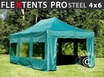 Faltzelt Faltpavillon Wasserdicht FleXtents PRO Steel 4x6m Grün, mit 8 Seitenwänden