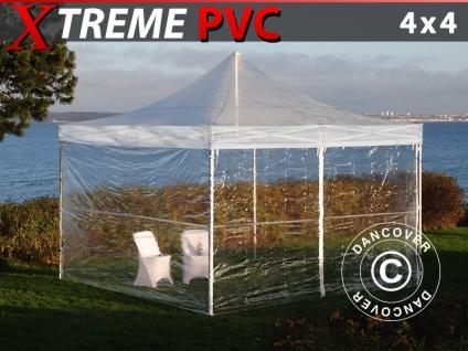 Faltzelt Faltpavillon Wasserdicht FleXtents Xtreme 50 4x4m Transparent, mit 4 Seitenwänden