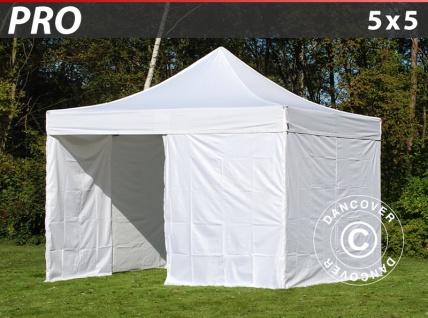 Faltzelt Faltpavillon Wasserdicht FleXtents PRO 5x5m Weiß, mit 4 Seitenwänden