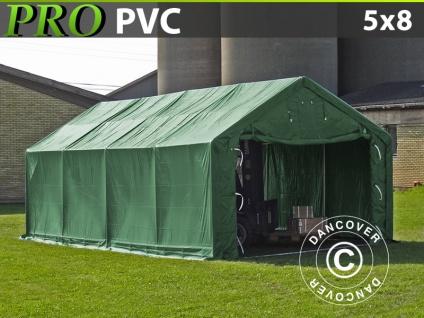 Lagerzelt Zeltgarage Garagenzelt PRO 5x8x2x2, 9m, PVC, Grün