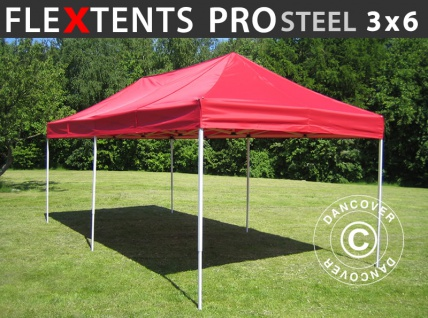 Faltzelt Faltpavillon Wasserdicht FleXtents PRO Steel 3x6m Rot