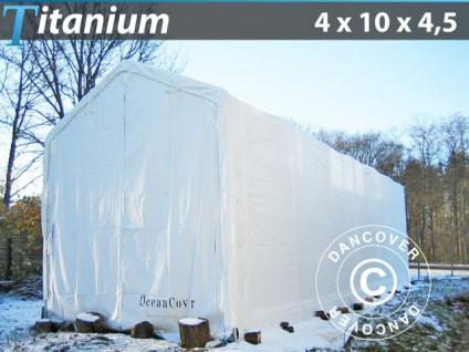 Lagerzelt Zeltgarage Garagenzelt Titanium 4x10x3, 5x4, 5m, Weiß