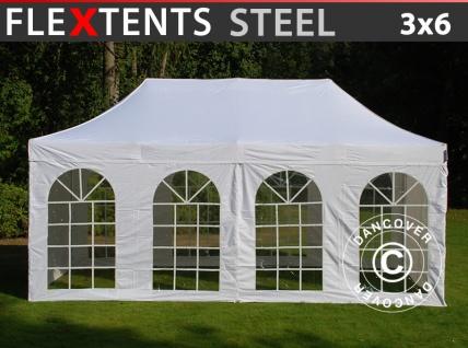 Faltzelt Faltpavillon Wasserdicht FleXtents Steel 3x6m Weiß, mit 4 Seitenwänden