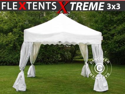 Faltzelt Faltpavillon Wasserdicht FleXtents Xtreme Wave 3x3m Weiß, mit 4 Gardinen