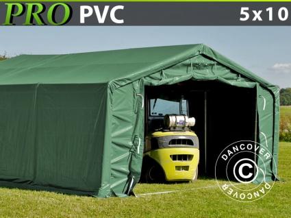 Lagerzelt Zeltgarage Garagenzelt PRO 5x10x2x2, 9m, PVC, Grün