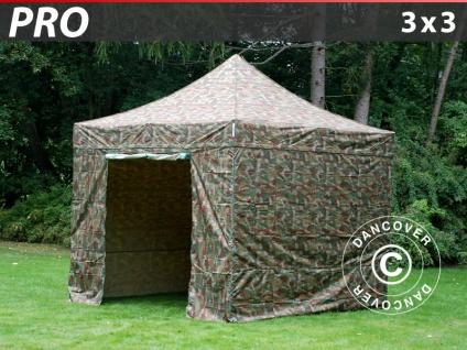 Faltzelt Faltpavillon Wasserdicht FleXtents PRO 3x3m Camouflage, mit 4 wänden