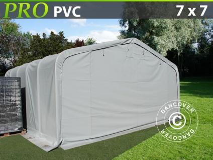 Lagerzelt Zeltgarage Garagenzelt PRO 7x7x3, 8m PVC, Grau