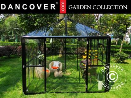 Orangerie/Pavillon Glas 8, 7m², 2, 95x2, 95x2, 7m, mit Fundament, schwarz