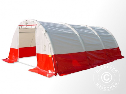 Aufblasbares Sanitäts- & Notfallzelt FleXshelter PRO, 4x4m, weiß/rot