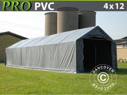 Lagerzelt Zeltgarage Garagenzelt PRO 4x12x2x3, 1m, PVC, Grau