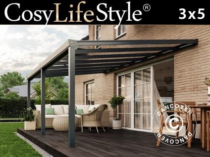 Terrassenüberdachung Easy aus Glas, 3x5m, Anthrazit