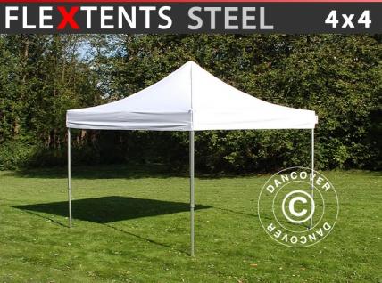 Faltzelt Faltpavillon Wasserdicht FleXtents Steel 4x4m Weiß