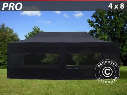 Faltzelt FleXtents PRO 4x8m Schwarz, mit 6 wänden