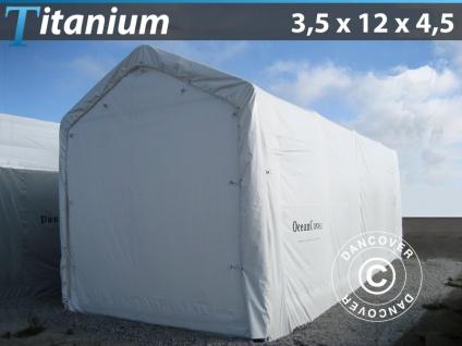 Lagerzelt Zeltgarage Garagenzelt Titanium 3, 5x12x3, 5x4, 5m, Weiß
