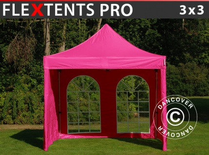 Faltzelt Faltpavillon Wasserdicht FleXtents PRO 3x3m Rosa, mit 4 Seitenwänden