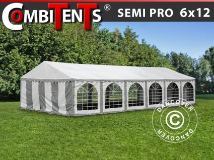 Partyzelt Festzelt, SEMI PRO Plus CombiTents® 6x12m 4-in-1, Grau/Weiß