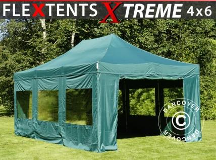 Faltzelt Faltpavillon Wasserdicht FleXtents Xtreme 50 4x6m Grün, mit 8 Seitenwänden