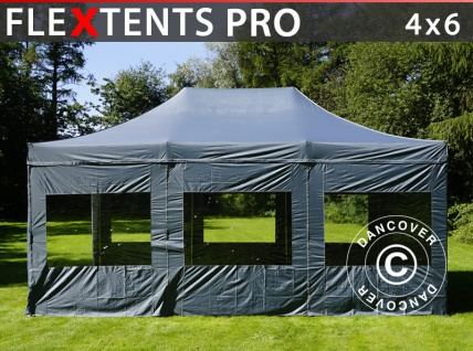 Faltzelt FleXtents PRO 4x6m Grau, mit 8 wänden