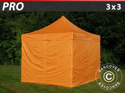 Faltzelt Faltpavillon Wasserdicht FleXtents PRO 3x3m Orange, mit 4 wänden