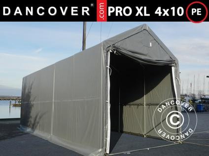 Lagerzelt PRO XL Bootszelt Zeltgarage Garagenzelt PRO XL 4x10x3, 5x4, 59m, PE, Grau