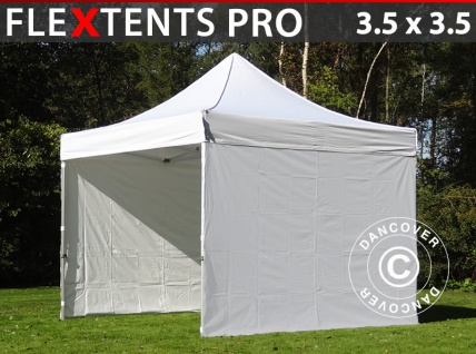 Faltzelt Faltpavillon Wasserdicht FleXtents PRO 3, 5x3, 5m Weiß, mit 4 wänden