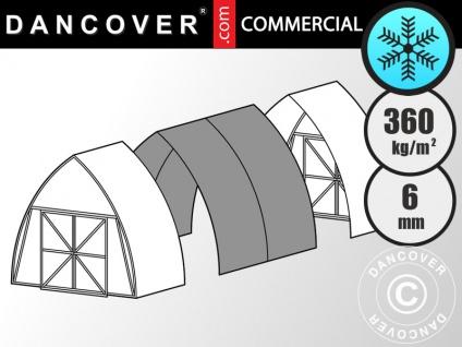 Kommerzielles Gewächshaus 6mm Polycarbonat Erweiterung, TITAN Peak 360, 7, 35m², 3, 5x2, 1m, Silber