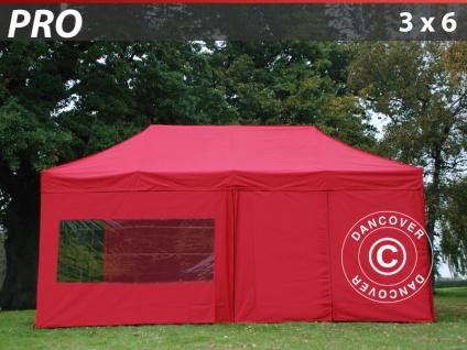 Faltzelt Faltpavillon Wasserdicht FleXtents PRO 3x6m Rot, mit 6 Seitenwänden