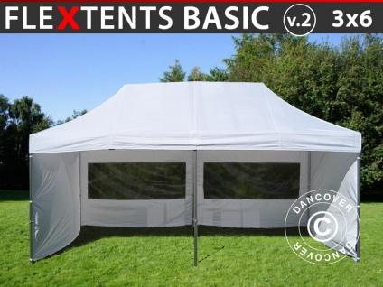 Faltzelt FleXtents Basic v.2, 3x6m Weiß, mit 6 wänden