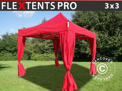 Faltzelt Faltpavillon Wasserdicht FleXtents PRO 3x3m Rot, mit 4 Gardinen