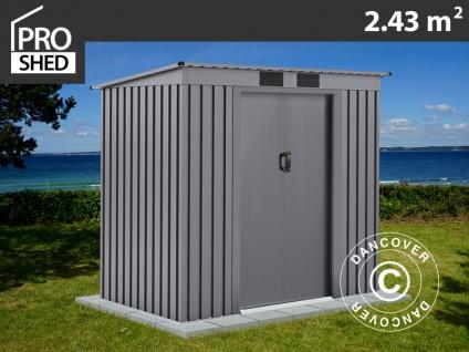 Geräteschuppen Metallgerätehaus mit Flachdach 2, 01x1, 21x1, 76m ProShed®, Aluminium Grau