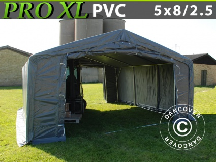 Lagerzelt Zeltgarage Garagenzelt PRO 5x8x2, 5x3, 3m, PVC, Grau