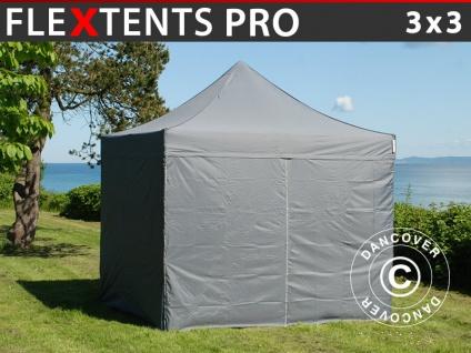 Faltzelt Faltpavillon Wasserdicht FleXtents PRO 3x3m Grau, mit 4 Seitenwänden