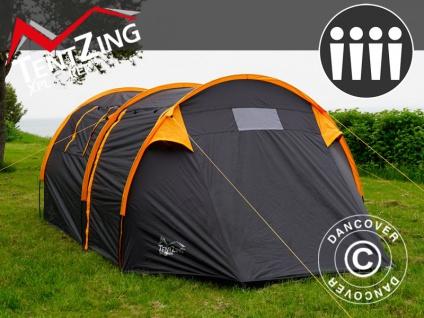 Campingzelt, TentZing® Tunnel, 4 Personen, Orange/Dunkelgrau