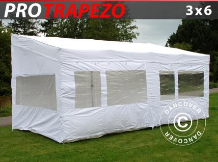 Faltzelt Faltpavillon Wasserdicht FleXtents PRO Trapezo 3x6m Weiß, mit 4 Seitenwänden