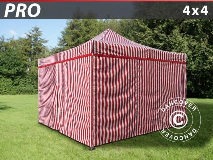 Faltzelt Faltpavillon Wasserdicht FleXtents PRO 4x4m Gestreift, mit 4 Seitenwänden