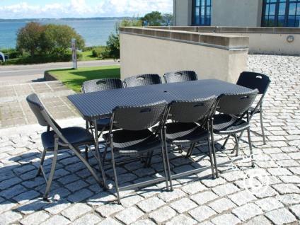 Partypaket, 1 Klapptisch im Rattan-Look PRO (182cm) + 8 Stühle im Rattan-Look, schwarz - Vorschau 3