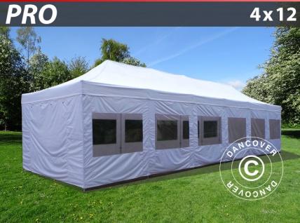 Faltzelt Faltpavillon Wasserdicht FleXtents PRO 4x12m Weiß, mit Seitenwänden