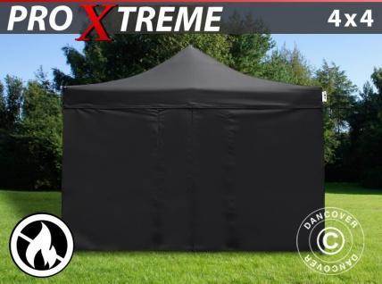 Faltzelt FleXtents Xtreme 4x4m Schwarz, Flammenhemmend, mit 4 Wänden