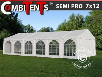 Partyzelt Festzelt, SEMI PRO Plus CombiTents® 7x12m 4-in-1, Weiß