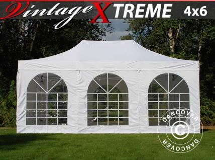 Faltzelt Faltpavillon Wasserdicht FleXtents Xtreme Vintage Style 4x6m Weiß, mit 8 Seitenwänden