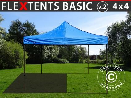 Faltzelt Faltpavillon Wasserdicht FleXtents Basic v.2, 4x4m Blau