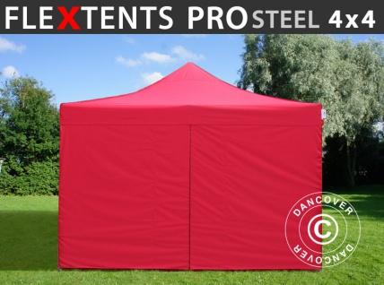 Faltzelt Faltpavillon Wasserdicht FleXtents PRO Steel 4x4m Rot, mit 4 Seitenwänden