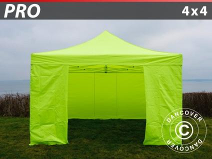 Faltzelt Faltpavillon Wasserdicht FleXtents PRO 4x4m Neongelb/grün, mit 4 Seitenwänden